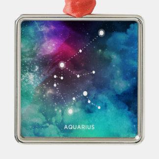 Elegant Red Blue Watercolor Nebula Aquarius Silver-Colored Square Ornament