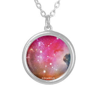 Elegant Red Blue Watercolor Nebula Aquarius Silver Plated Necklace