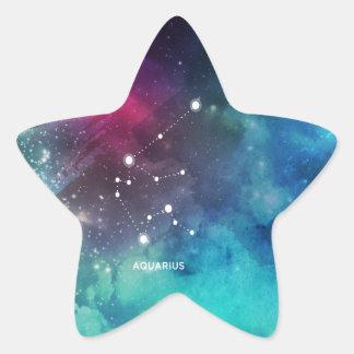 Elegant Red Blue Watercolor Nebula Aquarius Star Sticker
