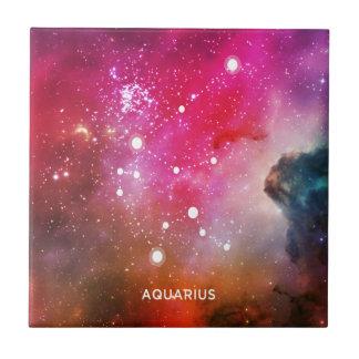 Elegant Red Blue Watercolor Nebula Aquarius Tiles