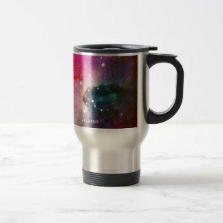 Elegant Red Blue Watercolor Nebula Aquarius Travel Mug