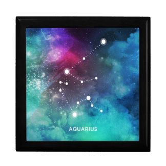 Elegant Red Blue Watercolor Nebula Aquarius Trinket Box