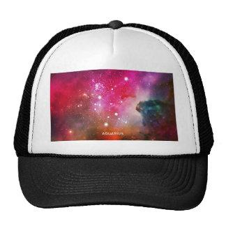 Elegant Red Blue Watercolor Nebula Aquarius Trucker Hat