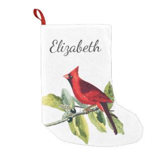 Elegant Red Cardinal Bird & Name in Script Small Christmas Stocking