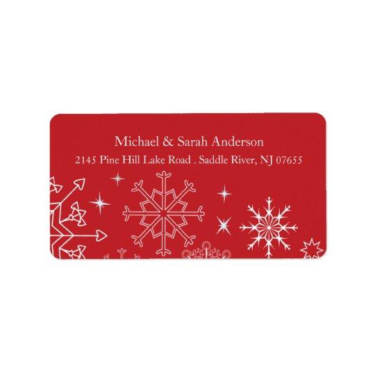 Elegant Red Christmas Snowflakes Address Label