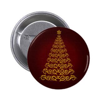 Elegant Red  Christmas Tree Button