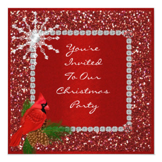 "ELEGANT RED CRYSTA HOLIDAY Party Invitation 5.25"" Square Invitation Card"