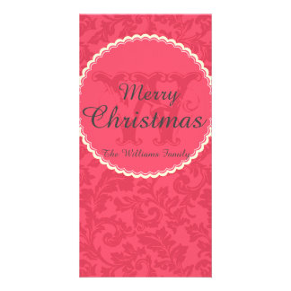 Elegant Red Damask Christmas w/ Name and Monogram Picture Card