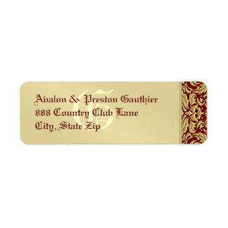 Elegant Red Damask Gold Metal Address Label