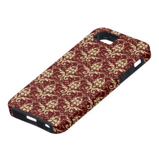 Elegant Red Damask Pattern iPhone 5 Covers