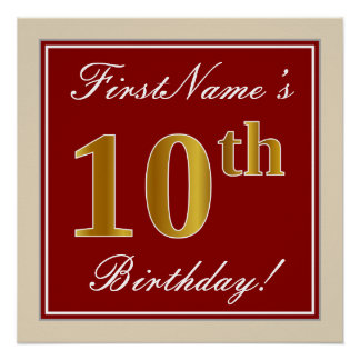 Elegant, Red, Faux Gold 10th Birthday; Custom Name Poster