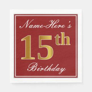 Elegant Red, Faux Gold 15th Birthday + Custom Name Disposable Napkin