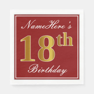 Elegant Red, Faux Gold 18th Birthday + Custom Name Paper Napkins