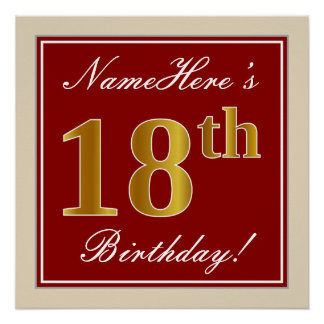 Elegant, Red, Faux Gold 18th Birthday; Custom Name Poster