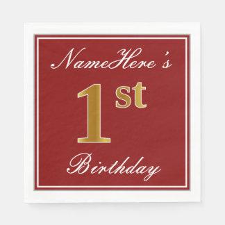 Elegant Red, Faux Gold 1st Birthday + Custom Name Disposable Napkin