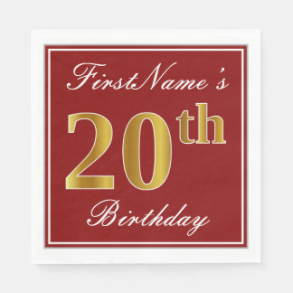 Elegant Red, Faux Gold 20th Birthday + Custom Name Paper Napkin