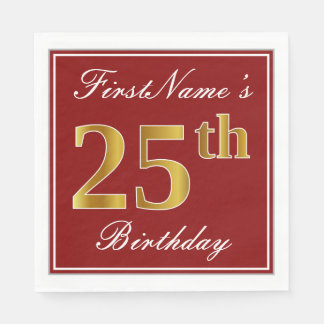 Elegant Red, Faux Gold 25th Birthday + Custom Name Disposable Napkin
