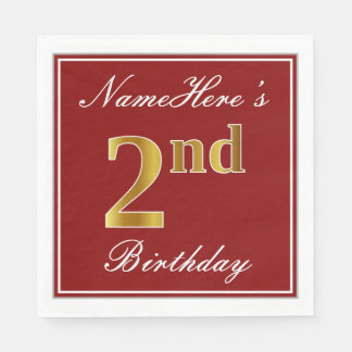 Elegant Red, Faux Gold 2nd Birthday + Custom Name Paper Napkin
