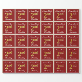 Elegant, Red, Faux Gold 2nd Birthday + Custom Name Wrapping Paper