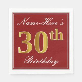 Elegant Red, Faux Gold 30th Birthday + Custom Name Disposable Napkins