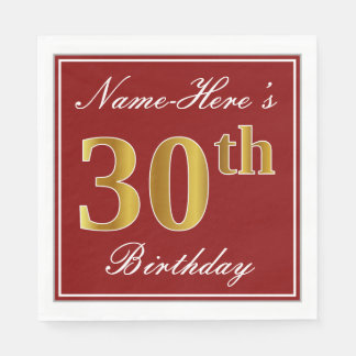 Elegant Red, Faux Gold 30th Birthday + Custom Name Paper Napkin