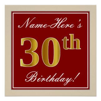 Elegant, Red, Faux Gold 30th Birthday; Custom Name Poster