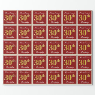 Elegant, Red, Faux Gold 30th Birthday; Custom Name Wrapping Paper