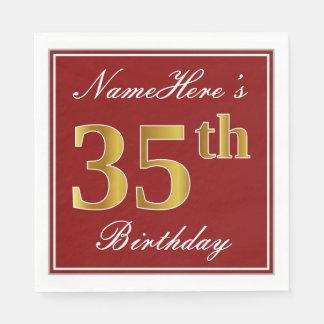 Elegant Red, Faux Gold 35th Birthday + Custom Name Disposable Napkins