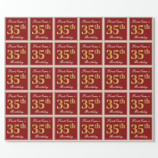 Elegant, Red, Faux Gold 35th Birthday; Custom Name Wrapping Paper