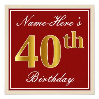Elegant, Red, Faux Gold 40th Birthday; Custom Name Card
