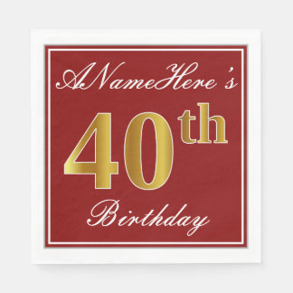 Elegant Red, Faux Gold 40th Birthday + Custom Name Paper Napkin
