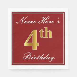 Elegant Red, Faux Gold 4th Birthday + Custom Name Paper Napkins