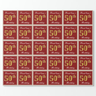 Elegant, Red, Faux Gold 50th Birthday; Custom Name Wrapping Paper