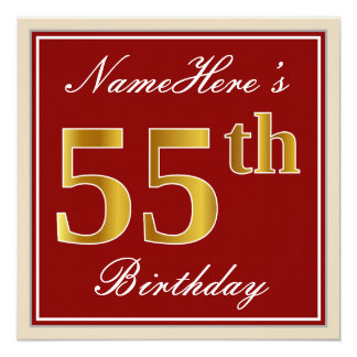 Elegant, Red, Faux Gold 55th Birthday; Custom Name Card