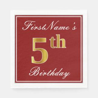 Elegant Red, Faux Gold 5th Birthday + Custom Name Paper Napkin