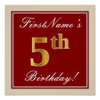 Elegant, Red, Faux Gold 5th Birthday + Custom Name Poster