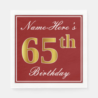 Elegant Red, Faux Gold 65th Birthday + Custom Name Paper Napkins