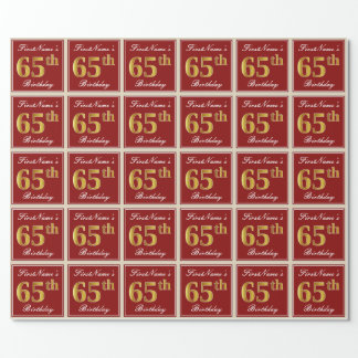Elegant, Red, Faux Gold 65th Birthday; Custom Name Wrapping Paper
