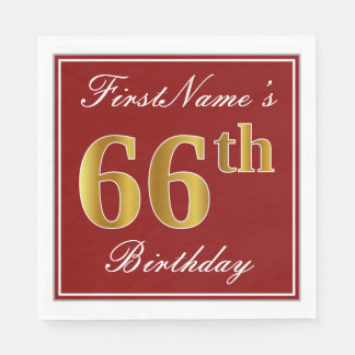 Elegant Red, Faux Gold 66th Birthday + Custom Name Disposable Napkins