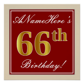 Elegant, Red, Faux Gold 66th Birthday; Custom Name Poster
