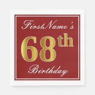 Elegant Red, Faux Gold 68th Birthday + Custom Name Paper Napkin