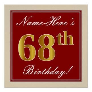 Elegant, Red, Faux Gold 68th Birthday; Custom Name Poster