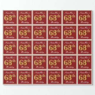 Elegant, Red, Faux Gold 68th Birthday; Custom Name Wrapping Paper