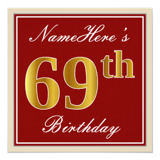 Elegant, Red, Faux Gold 69th Birthday; Custom Name Card