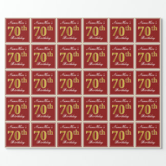 Elegant, Red, Faux Gold 70th Birthday; Custom Name Wrapping Paper