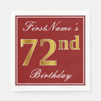 Elegant Red, Faux Gold 72nd Birthday + Custom Name Disposable Napkin