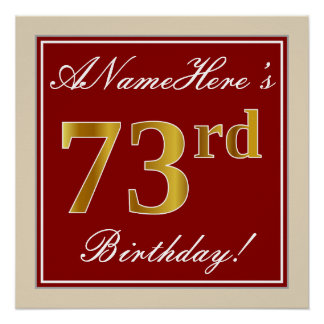 Elegant, Red, Faux Gold 73rd Birthday; Custom Name Poster
