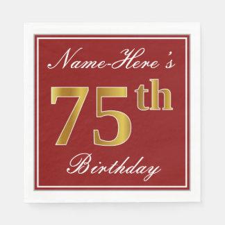 Elegant Red, Faux Gold 75th Birthday + Custom Name Disposable Napkin