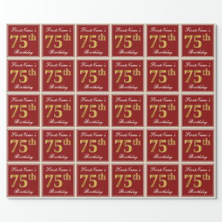 Elegant, Red, Faux Gold 75th Birthday; Custom Name Wrapping Paper