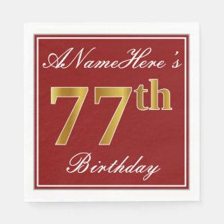 Elegant Red, Faux Gold 77th Birthday + Custom Name Paper Napkin